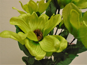 "Magnolia Bush 9 Artificial Satin Flowers 20"" Bouquet 301 - Phoenix Silk Flower Marketplace"