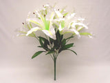 "Tiger Lily Bush Satin 9 Artificial Flowers 18"" Bouquet 1007 - Phoenix Silk Flower Marketplace"
