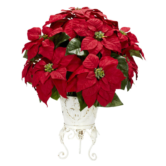 Poinsettia w/Metal Planter Silk Flower Arrangement 1267 - Phoenix Silk Flower Marketplace
