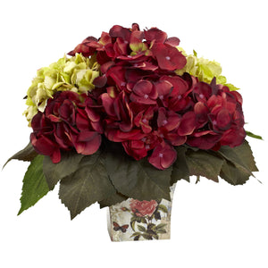 Green & Burgundy Hydrangea Arrangement PS1380 - Phoenix Silk Flower Marketplace