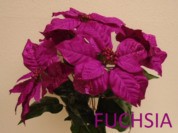 Christmas Poinsettia Glitter Bush 5 Artificial Silk Flower 18