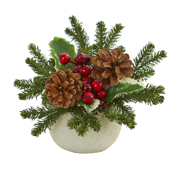 Christmas Inspired Artificial Arrangement in Ceramic Vase 1668-S2 (Set of 2) - Phoenix Silk Flower Marketplace