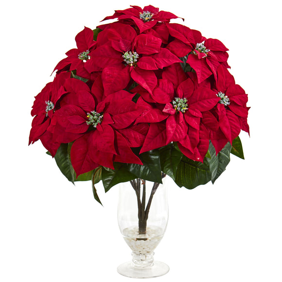 Poinsettia Artificial Arrangement in Glass Vase 1727 - Phoenix Silk Flower Marketplace