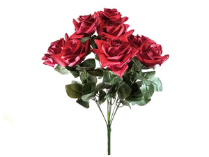 "RED Black Tip Open Roses Bush Artificial Silk Flower 19"" Bouquet 9-183 BUR"