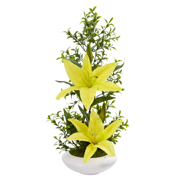 Lily and Boxwood Artificial Arrangement in White Planter PS1876 - Phoenix Silk Flower Marketplace