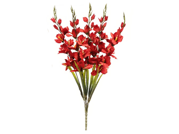 DARK RED Gladiolus Bush Artificial Silk Flowers 32