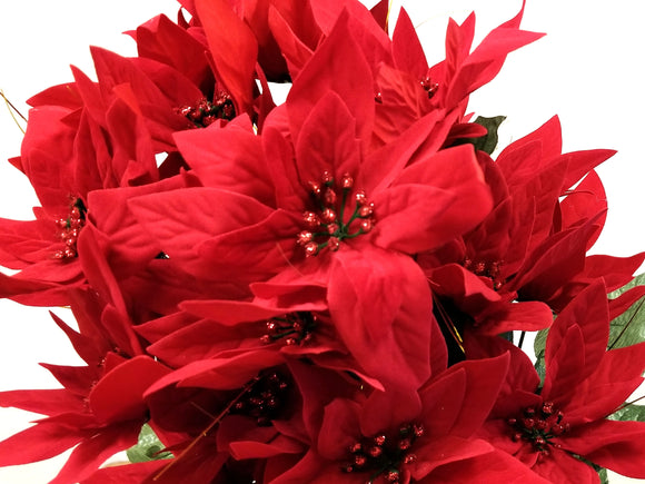 RED Velvet Christmas Poinsettia Bush Artificial Flowers 24