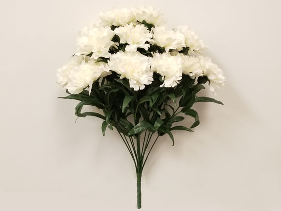 WHITE Carnation Bush Artificial Silk Flowers 18