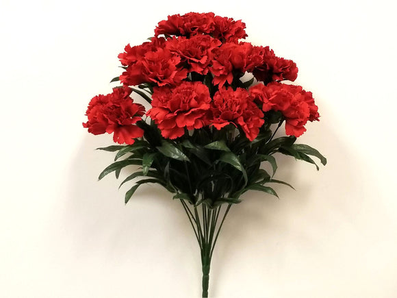 RED Carnation Bush Artificial Silk Flowers 18