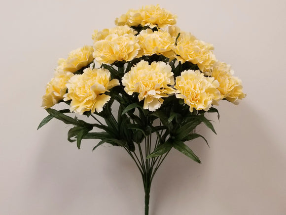 YELLOW Carnation Bush Artificial Silk Flowers 18
