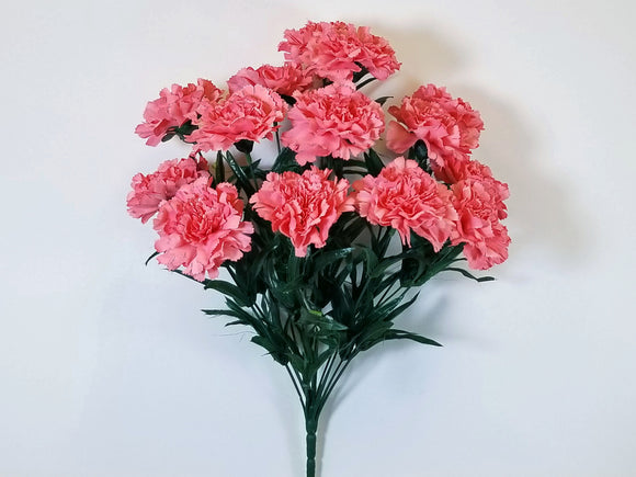 CORAL Carnation Bush Artificial Silk Flowers 18