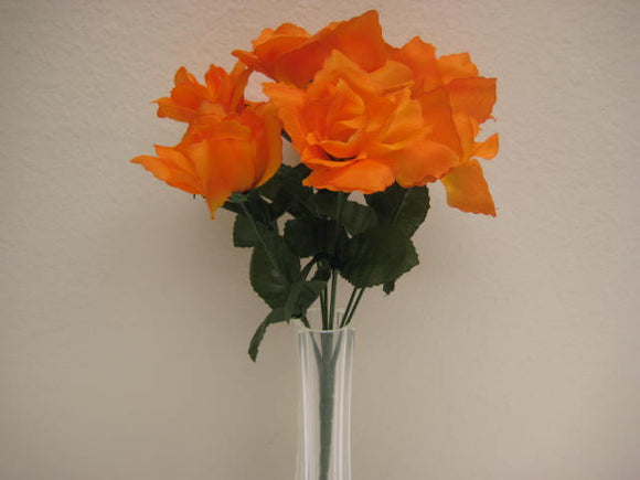6 Bushes Small Open Rose 7 Artificial Silk Flowers 12