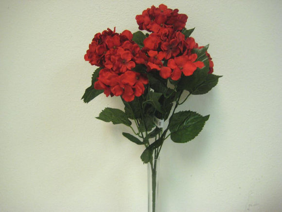 RED Hydrangea Bush 5 Heads Artificial Silk Flowers 19