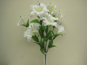"CREAM Jumbo Tiger Lily Bush Artificial Satin Flowers 25"" Bouquet 9-003CR - Phoenix Silk Flower Marketplace"