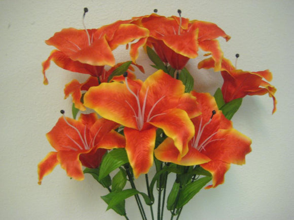 ORANGE Jumbo Tiger Lily Bush Artificial Satin Flowers 25