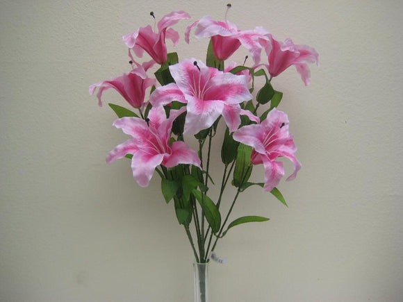 PINK Jumbo Tiger Lily Bush Artificial Satin Flowers 25