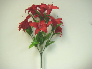 "RED Jumbo Tiger Lily Bush Artificial Satin Flowers 25"" Bouquet 9-003RD - Phoenix Silk Flower Marketplace"