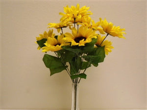 "YELLOW Sunflowers Bush 11 Artificial Silk Flowers 18"" Bouquet 3007YL - Phoenix Silk Flower Marketplace"