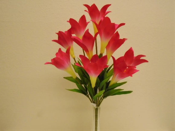 Easter Lily Bush 10 Artificial Silk Flowers 21