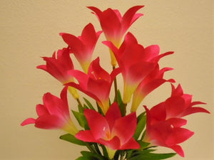 "Easter Lily Bush 10 Artificial Silk Flowers 21"" Bouquet 3022 - Phoenix Silk Flower Marketplace"