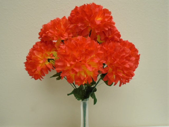 Chrysanthemum Mum Ball Bush 10 Artificial Silk Flowers 19