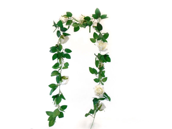Roses Garland Artificial Silk Flowers 5.9 ft Vine 1477 - Phoenix Silk Flower Marketplace