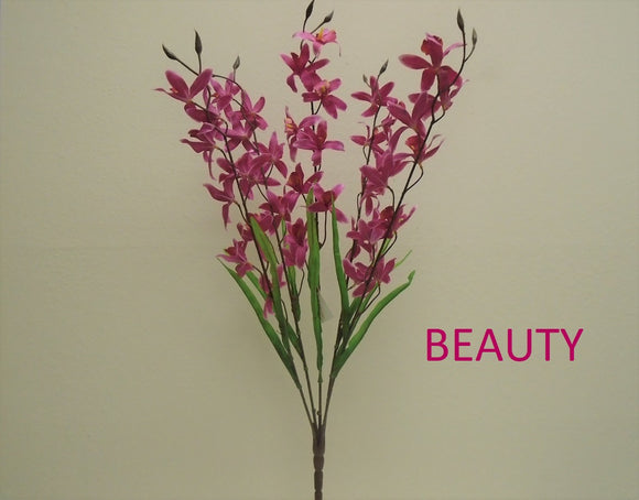 Mini Cymbidium Orchid Bush Artificial Silk Flowers 31