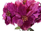 "FUCHSIA Christmas Poinsettia Glitter Bush Artificial Silk Flower 22"" Bouquet 7-3466FU"