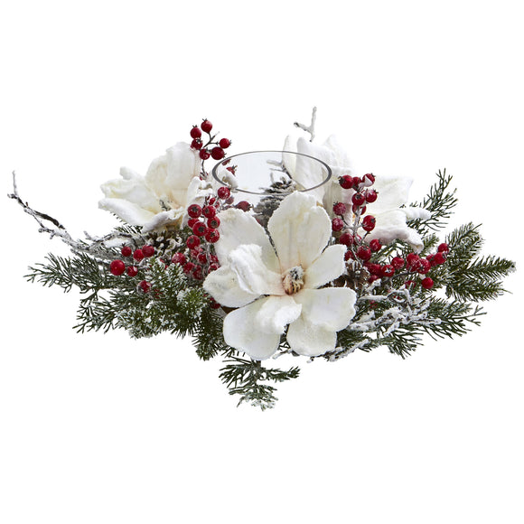 Frosted Magnolia & Berry Artificial Arrangement Candelabrum 4188 - Phoenix Silk Flower Marketplace