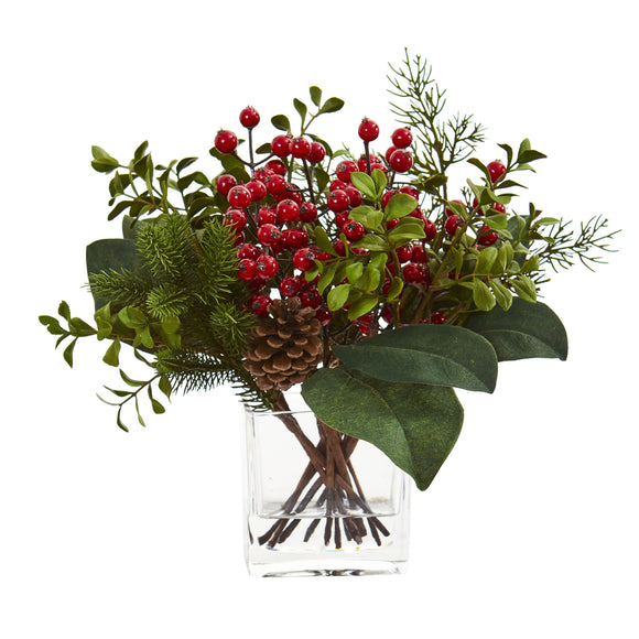Berry, Pine and Boxwood Artificial Arrangement 4260 - Phoenix Silk Flower Marketplace