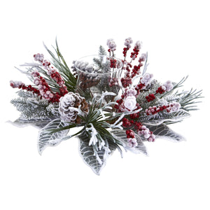 Snowy Magnolia Berry Artificial Arrangement Candelabrum 4263 - Phoenix Silk Flower Marketplace