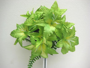 "GREEN Jumbo Tiger Lily Bush Artificial Satin Flowers 20"" Bouquet 14-434GR - Phoenix Silk Flower Marketplace"