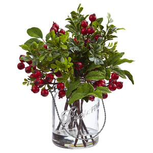 Berry Boxwood in Glass Jar 4545 - Phoenix Silk Flower Marketplace