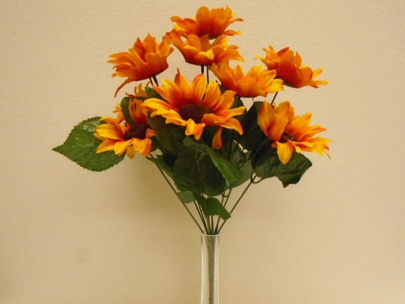 ORANGE Sunflowers Bush Satin 11 Artificial Flowers 19