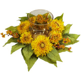Golden Sunflower Candelabrum Silk Flower Arrangement 4905 - Phoenix Silk Flower Marketplace