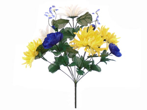 "BLUE CREAM YELLOW Mix Flowers Bush Artificial Silk Flower 17"" Bouquet 9-336 BLYWCM - Phoenix Silk Flower Marketplace"