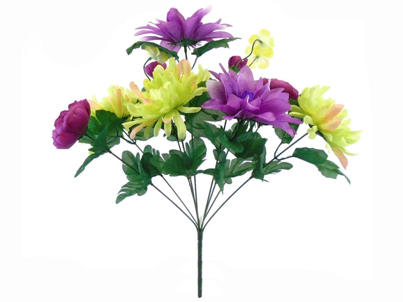MULTI COLORS Mix Flowers Bush Artificial Silk Flower 17