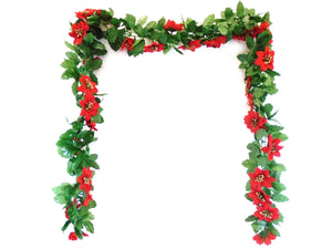 RED Velvet Poinsettia Christmas 6' Chain Garland Artificial Silk Flower 5372 RD - Phoenix Silk Flower Marketplace
