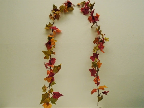 2 Garlands RED ORANGE English Ivy Leaves Artificial Satin 6 ft Vine 2538EI - Phoenix Silk Flower Marketplace