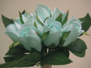 "Hand Tied Rose Bud 11"" Bouquet Artificial Silk Flower 12-5606 - Phoenix Silk Flower Marketplace"