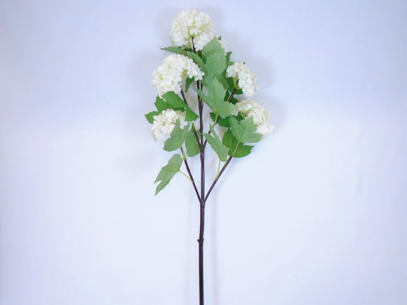 Snowball Spray 6 Artificial Silk Flowers 25