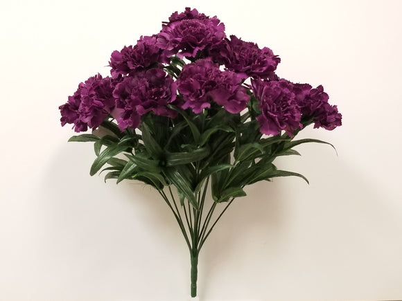 PURPLE Carnation Bush Artificial Silk Flowers 18