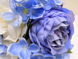 CR. BLUE PURPLE Rose Hydrangea Hand Tied Bouquet Artificial Silk Flower 7158CRBL - Phoenix Silk Flower Marketplace