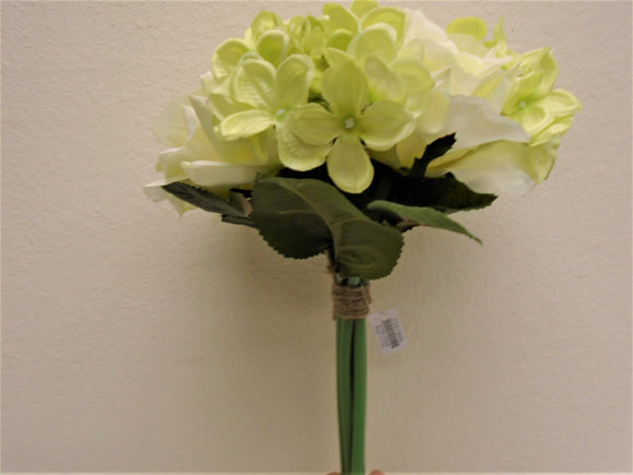 CREAM GREEN Rose Hydrangea Hand Tied Bouquet Artificial Silk Flower 7158CRGN - Phoenix Silk Flower Marketplace