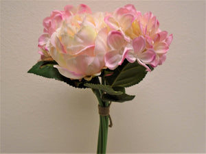 CREAM PINK Rose Hydrangea Hand Tied Bouquet Artificial Silk Flower 7158PK - Phoenix Silk Flower Marketplace