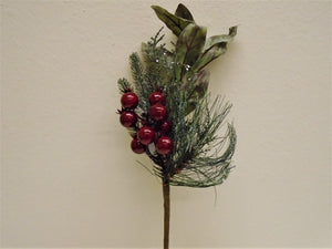 "2 Picks RED Berry Pine Leaves Christmas Artificial 16"" Stem 7526 RD"