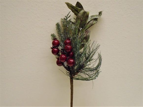 2 Picks RED Berry Pine Leaves Christmas Artificial 16