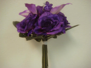 "PURPLE Roses Lilies Bouquet Satin Artificial Flowers Wedding 12"" Bush 5783 PU - Phoenix Silk Flower Marketplace"