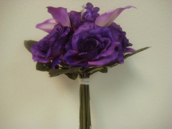 PURPLE Roses Lilies Bouquet Satin Artificial Flowers Wedding 12