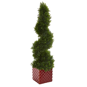 "26"" Cedar Spiral Artificial Topiary Tree in Red Ceramic Cube - Phoenix Silk Flower Marketplace"